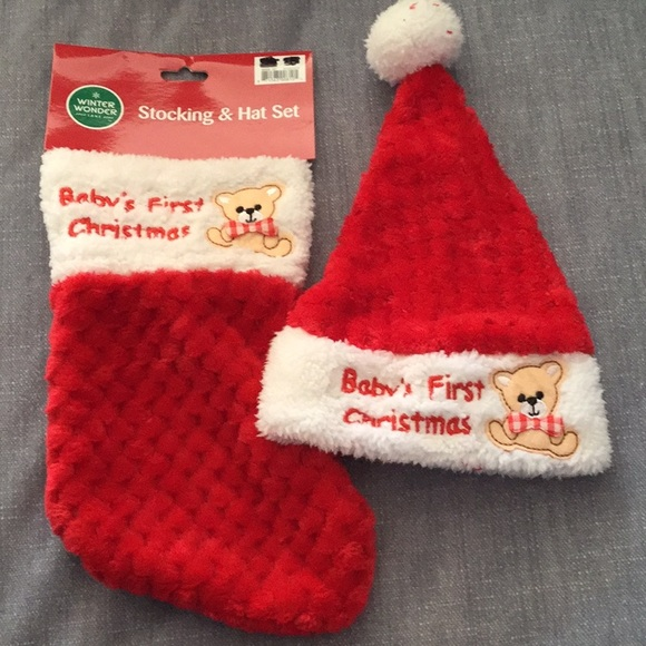 Baby s first Christmas 🎄 stocking and hat set NWT 261edeb3818